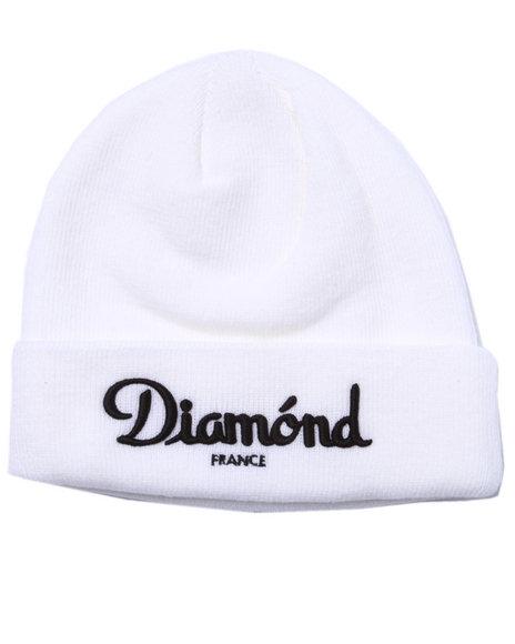 Diamond Supply Co Men Champagne Beanie White
