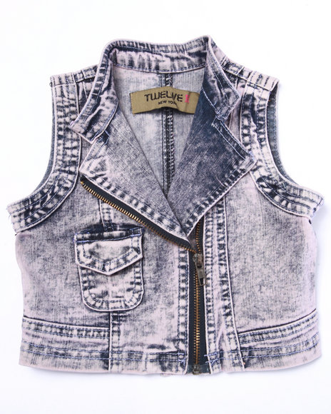 La Galleria - Girls Light Pink Cotton Candy Acid Denim Vest (2T-4T)