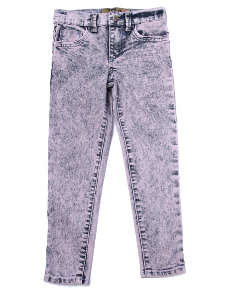La Galleria - Girls Light Pink Cotton Candy Acid Skinny Jeans (4-6X)