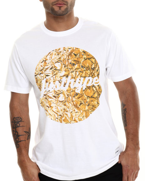 Justhype - Men White Liquid Gold Circle S/S Tee