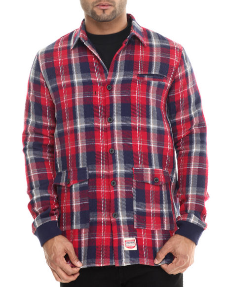Diamond Supply Co - Men Red Plaid Shirt Jacket