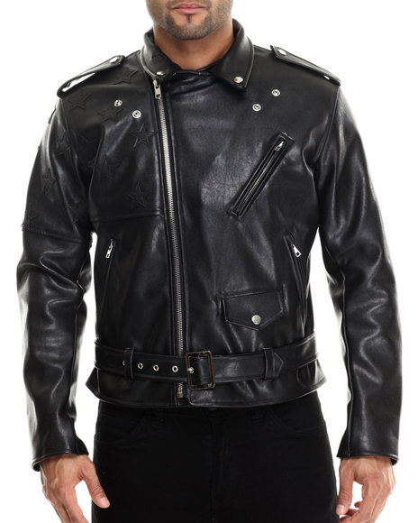 Hudson Nyc - Men Black American Rider Faux Leather Jacket