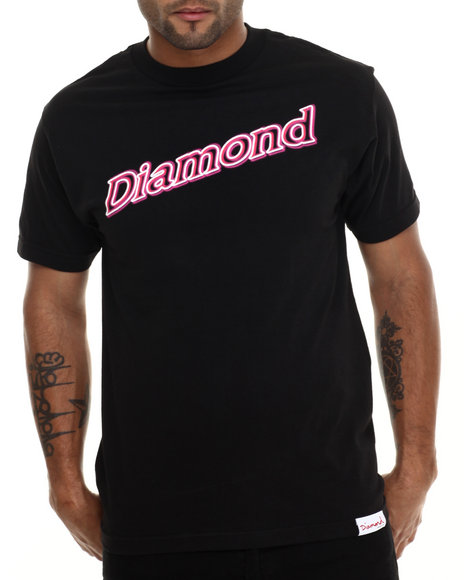 Diamond Supply Co - Men Black Neon Script Tee