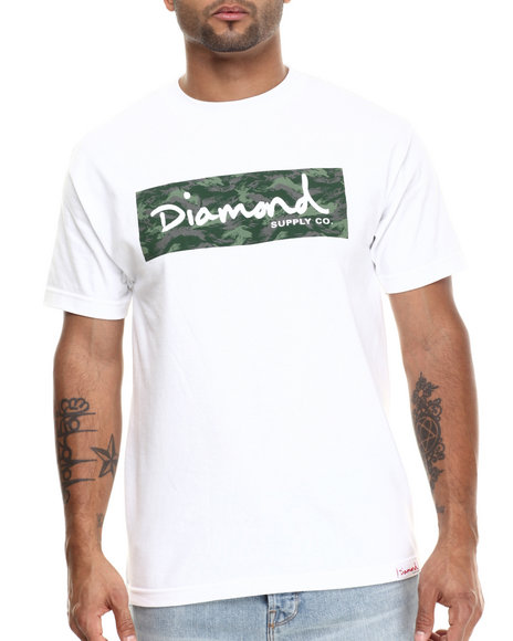 Diamond Supply Co - Men White Tonal Box Logo Tee - $19.99