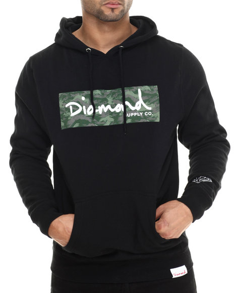 Diamond Supply Co - Men Black Tonal Camo Box Logo Pullover Hoodie