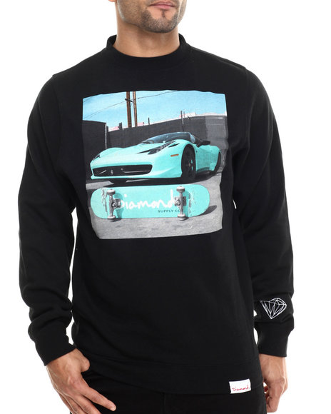 Diamond Supply Co - Men Black Ferrari Crew Sweatshirt
