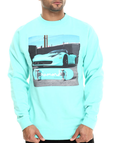 Diamond Supply Co - Men Teal Ferrari Crew Sweatshirt