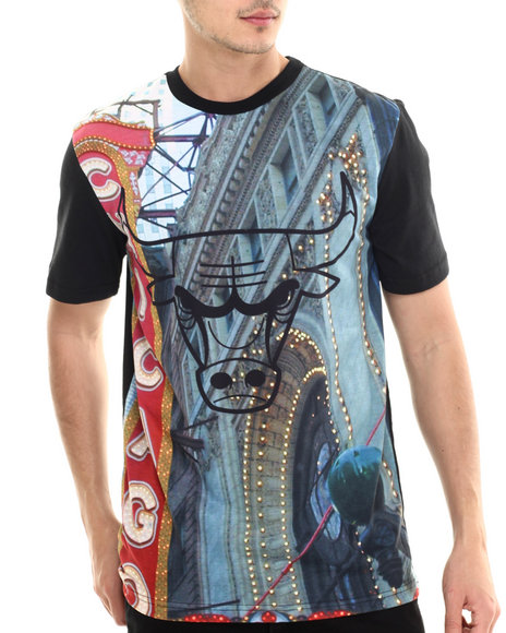 Nba, Mlb, Nfl Gear - Men Multi Chicago Skyline Sublimation S/S Tee