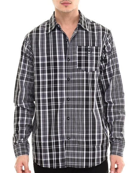 Rocawear - Men Black Super Tartan L/S Button-Down