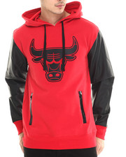 NBA, MLB, NFL Gear - Chicago Bulls Marled Hoodie w/ faux leather sleeves