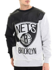 NBA, MLB, NFL Gear - Brooklyn Nets Faux leather Panel applique Sweatshirt w/ side zipper detail
