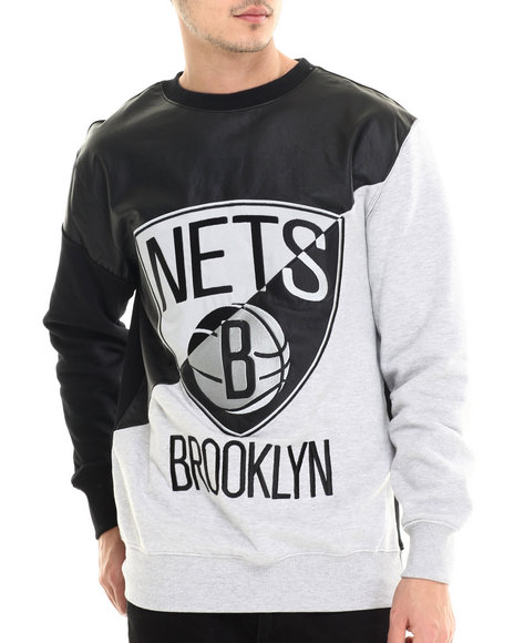 Nba, Mlb, Nfl Gear - Men Black,Grey Brooklyn Nets Faux Leather Panel Applique Sweatshirt W/ Side Zipper Detail