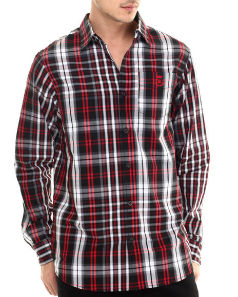 Rocawear - Men Red Super Tartan L/S Button-Down