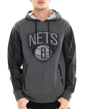 NBA, MLB, NFL Gear - Brooklyn Nets Marled Hody w/ faux leather sleeves