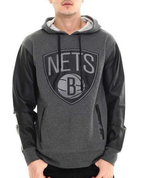 Nba, Mlb, Nfl Gear - Men Charcoal,Black Brooklyn Nets Marled Hoody W/ Faux Leather Sleeves