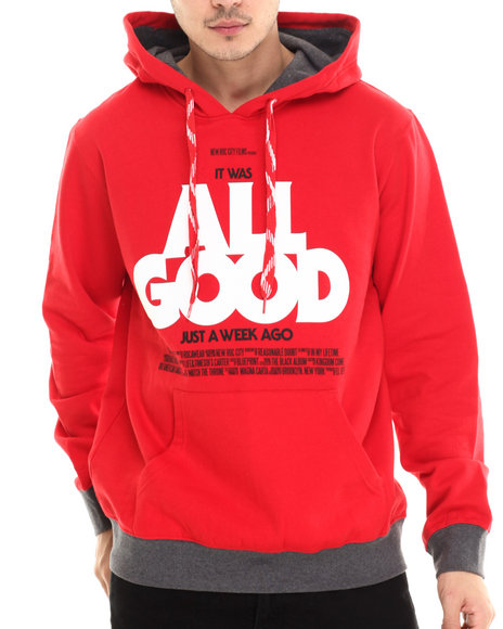 Rocawear - Men Red All Good Poster Pullover Hoodie - $41.99