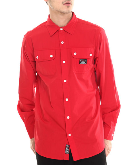 Ur-ID 213672 Rocawear - Men Red Nostrand Ave Poplin L/S Button-Down