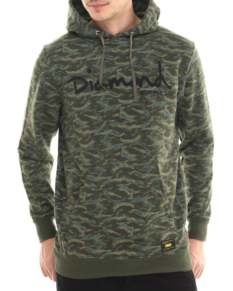 Diamond Supply Co - Men Camo,Green Tonal Camo Pullover Hoodie