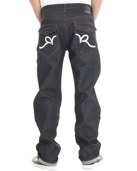 Rocawear - Men White,Raw Wash R Script Flap Jeans