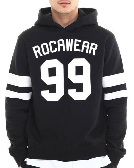 Rocawear - Men Black Striped Pullover Hoodie