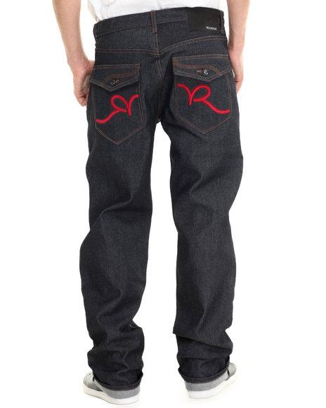 Rocawear - Men Red,Raw Wash R Script Flap Jeans