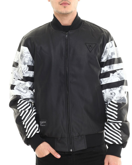 Rocawear - Men Black Shades Pu Bomber Jacket