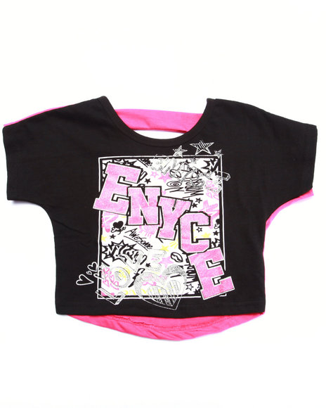Enyce - Girls Black Hi-Low Logo Tee (4-6X)