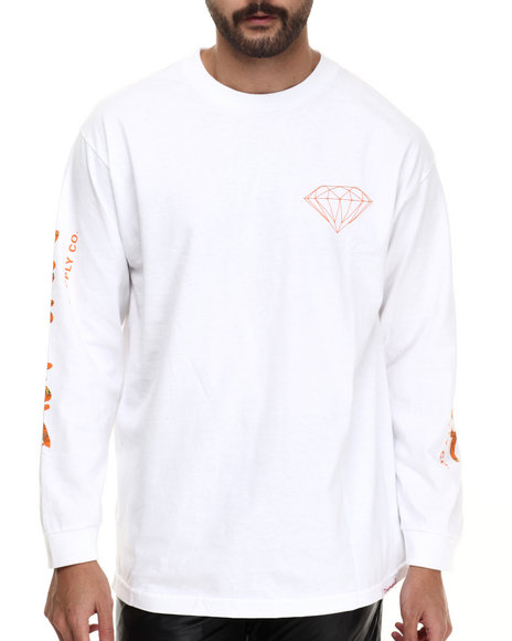 Diamond Supply Co - Men Orange,White Low Life L/S Tee