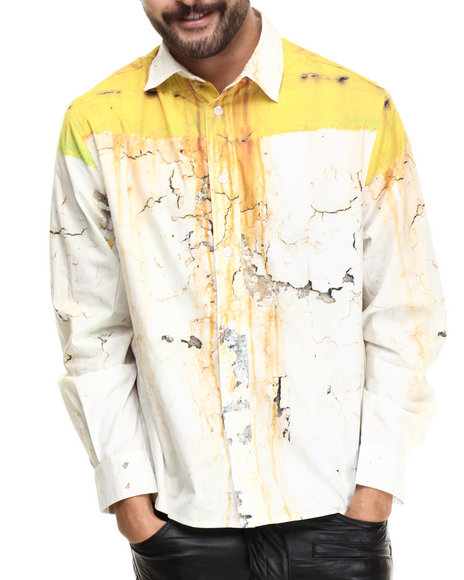 Eight 732 - Men White Rusty Wall L/S Button-Down