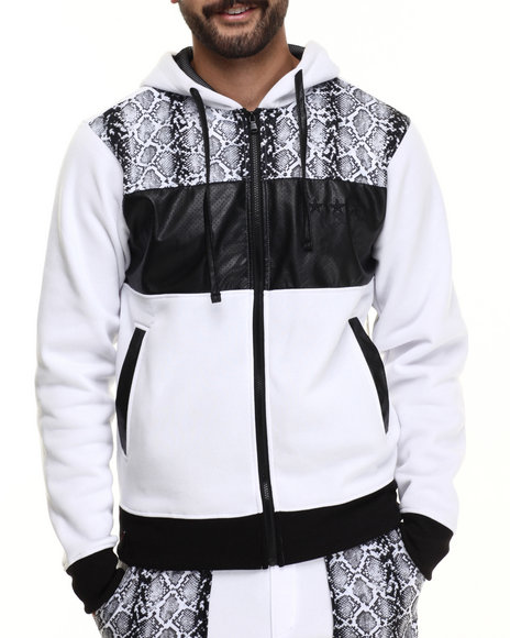 Enyce - Men White Ross Zip Up Hoodie
