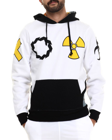 Eight 732 - Men White Caution Hoody