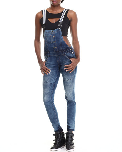 Basic Essentials - Women Blue Striped Suspenders Denim Overalls