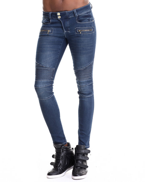 Fashion Lab - Women Dark Wash Motorcycle Skinny Jeans - $14.99
