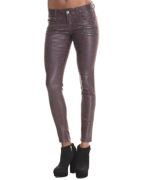 Fashion Lab - Women Maroon The Crackle Skinny Jeans
