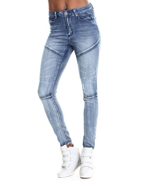 Fashion Lab - Women Light Wash Moto King Skinny Jeans