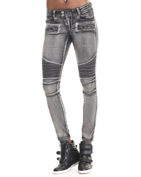 Fashion Lab - Women Black Motorcycle Skinny Jeans
