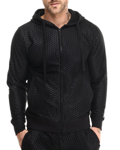 Basic Essentials - Men Black Nothing But Net Large - Mesh Hoodie