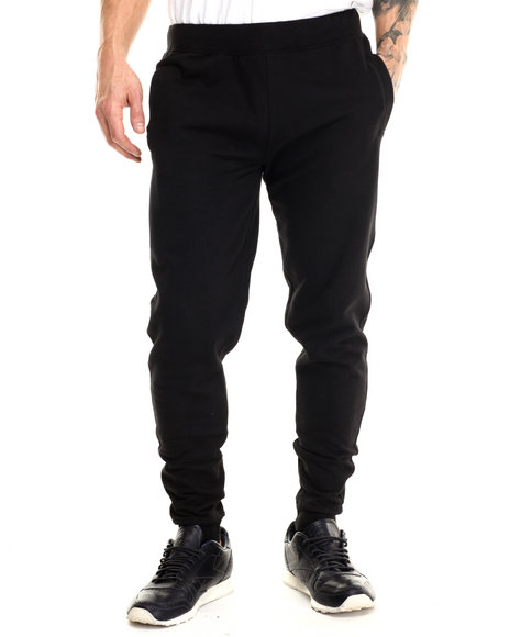 Basic Essentials - Men Black Harem Fleece Joggers