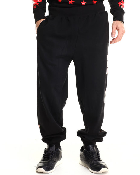 Basic Essentials - Men Black King's Court Printed Joggers