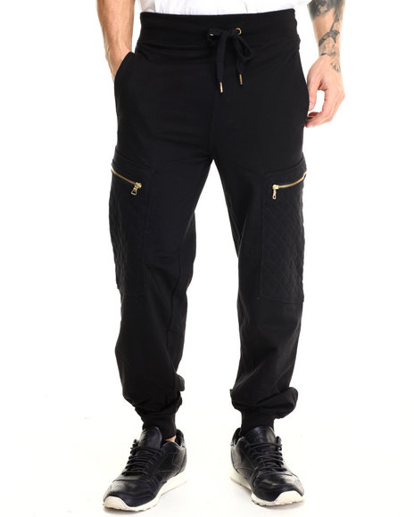 Basic Essentials - Men Black Hood Royalty Quilted Joggers