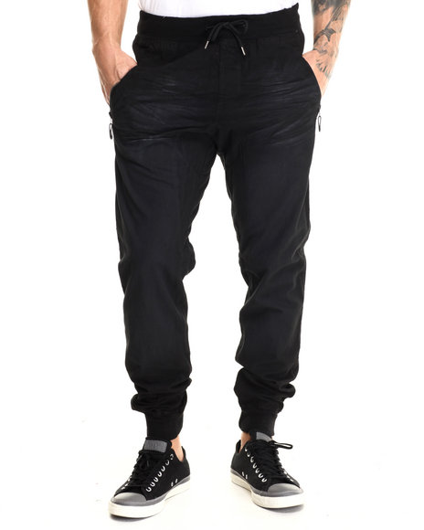 Basic Essentials - Men Black Drop - Crotch Canvas Joggers