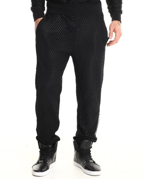 Basic Essentials - Men Black Nothing But Net Large - Mesh Trimmed Joggers