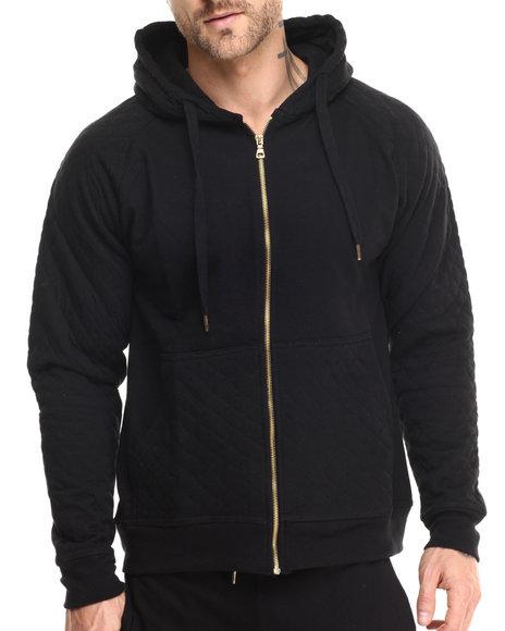 Basic Essentials - Men Black Hood Royalty Quilted Hoodie
