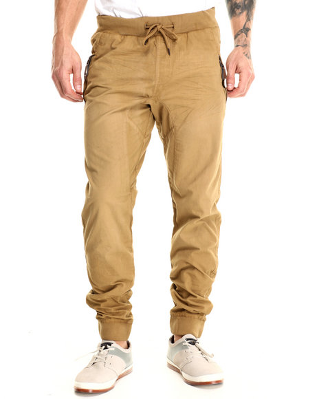Basic Essentials - Men Khaki Drop - Crotch Canvas Joggers - $42.00