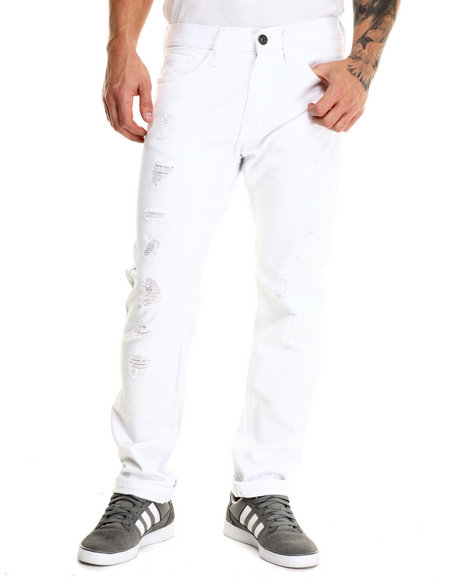Basic Essentials - Men White Run Down Denim Jeans
