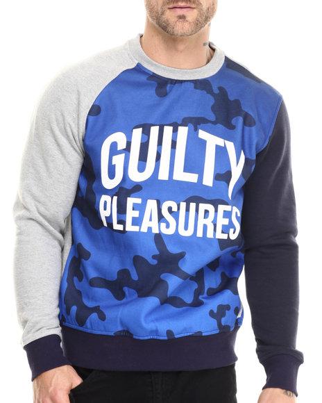 Rolling Paper - Men Grey,Navy Color Camo Sweatshirt