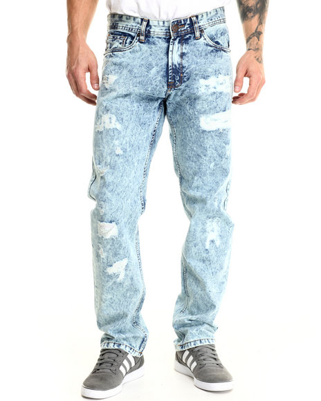 Basic Essentials - Men Light Wash Rip & Repair Acid - Washed Denim Jeans