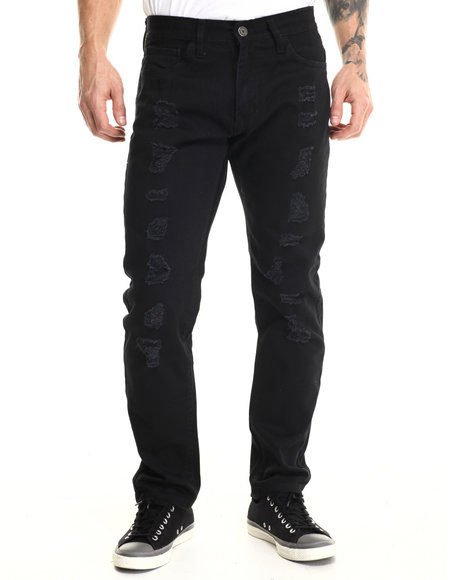 Basic Essentials - Men Black Run Down Denim Jeans