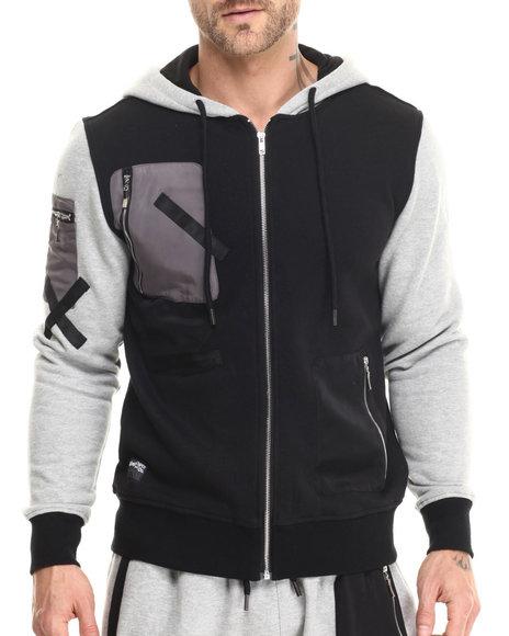 Rolling Paper - Men Black,Grey Pocket Applique Fullzip Hoodie