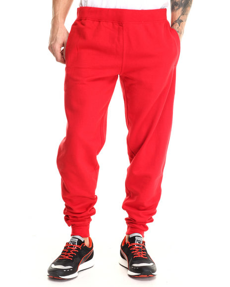 Basic Essentials - Men Red Harem Fleece Joggers